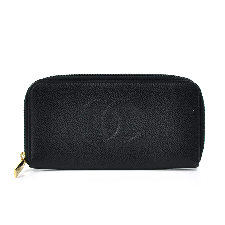6d2591cebcecc7 BrandValue: Chanel CHANEL wallet caviar skin black leather long wallet  round fastener Lady's men - k6925 | Rakuten Global Market