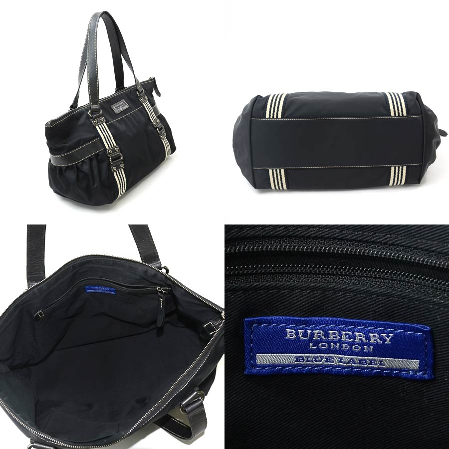 2b9498dd6e0c  basic popularity   used  Burberry blue label  BURBERRY BLUE LABEL   shoulder bag tote bag Lady s black x beige system nylon x leather x canvas