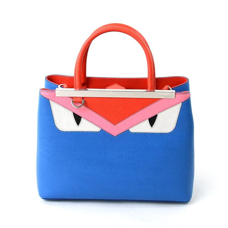 beautiful article  Take a Fendi  FENDI  petit toe Joule monster bugs  handbag slant  a shoulder bag 2Way bag lady blue x red x pink x white x  black leather ...