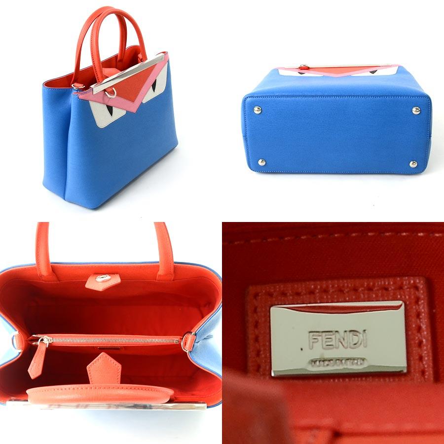 beautiful article  Take a Fendi  FENDI  petit toe Joule monster bugs  handbag slant  a shoulder bag 2Way bag lady blue x red x pink x white x  black leather ... 8eeaff962f887