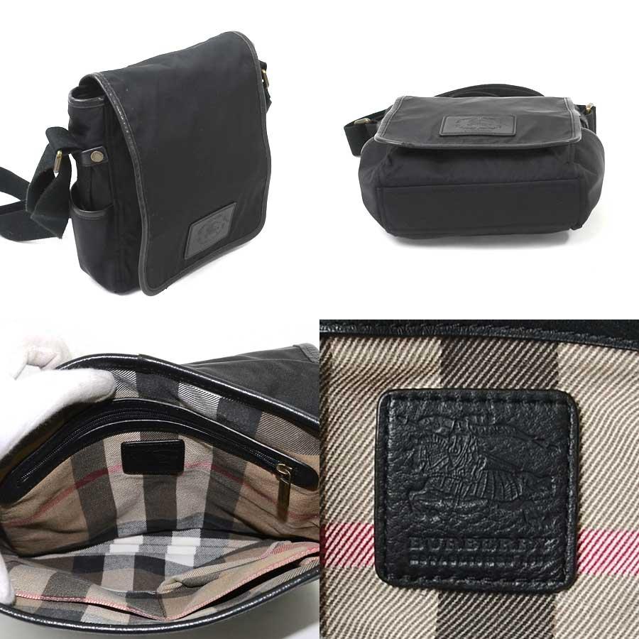 1c5f50bea401  basic popularity   used  take a Burberry  BURBERRY  slant  shoulder bag  Lady s men black nylon x leather