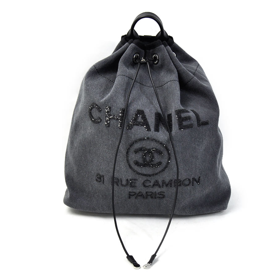 a77aca4da478 BrandValue: Chanel CHANEL rucksack backpack drawstring purse rucksack  Deauville line gray system canvas x spangles Lady's premium special feature  -93,379 ...