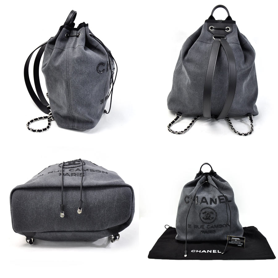 0dc3be78f [beautiful article] Chanel [CHANEL] Deauville line rucksack backpack  drawstring purse rucksack Lady's gray system canvas x spangles [unused  article]