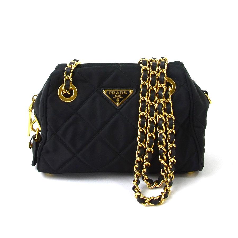 9752c4a2501 BrandValue: Prada PRADA chain shoulder bag triangle logo plate NERO (black)  nylon x metal material Lady's BL0775 - y12078 | Rakuten Global Market