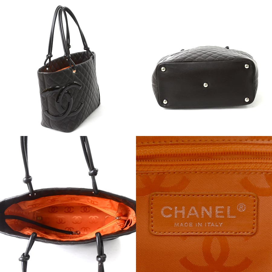 aa8bbdd8c2fe It is Chanel [CHANEL] Cambon line shoulder bag tote bag Lady's dark brown x  orange (the inside) leather x patent [soot] [used]