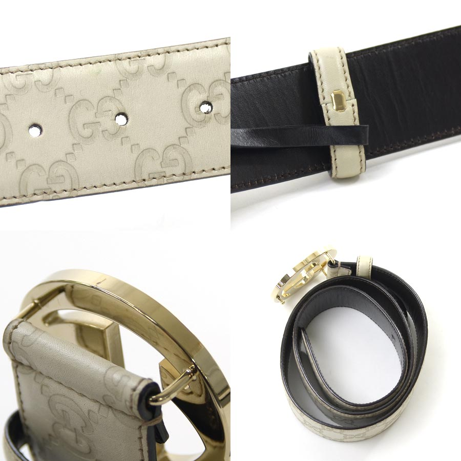 3f2fb577fe4  basic popularity   used  a Gucci  GUCCI  Gucci sima interlocking grip G  belt (85 34) Lady s men off-white x silver Gucci sima leather x metal  material