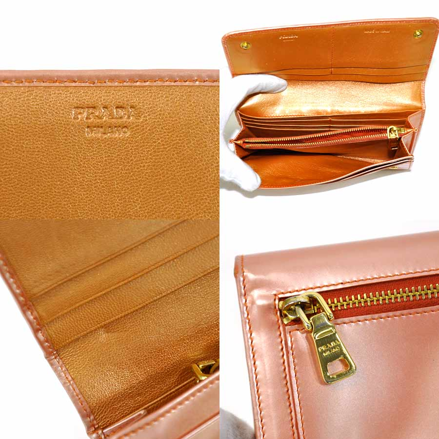 aeaf7d005705 ... official store basic popularity used a prada prada folio long wallet  ladys papaya mordo champagne pink