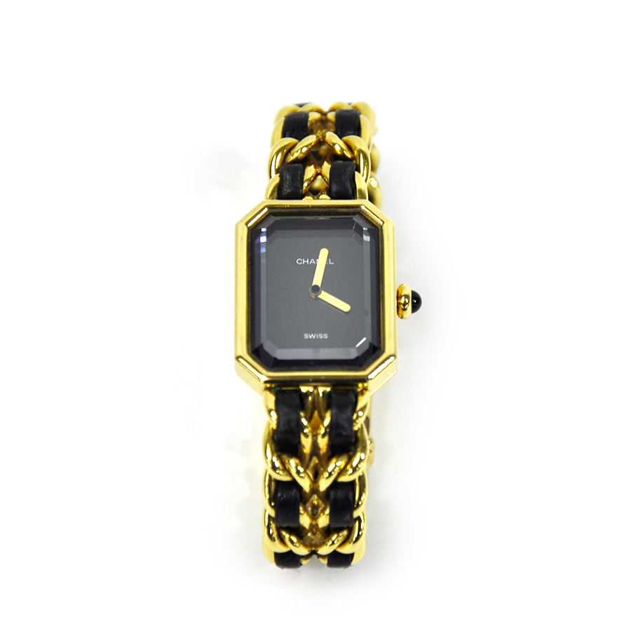 3491fac940b  basic popularity   used  a Chanel  CHANEL  プルミエール PLAQUE OR G 20 M watch  watch Lady s black x gold leather x metal material
