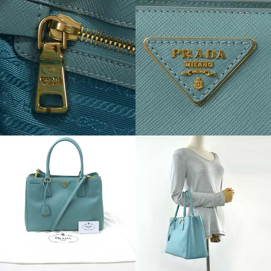 6b9ef7fd74 [basic popularity] [used] Prada [PRADA] triangle logo plate handbag  shoulder bag 2Way bag lady ANICE (light blue system) サフィアーノ