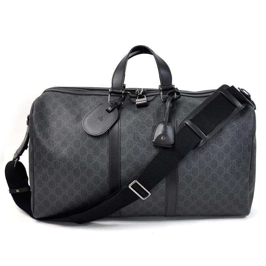 78627a856b1da4 BrandValue: Gucci GUCCI handbag Boston bag travel bag GG pattern carry on  duffel bag dark gray x black GG スプリームキャンバス x leather Lady's men -93,664 ...