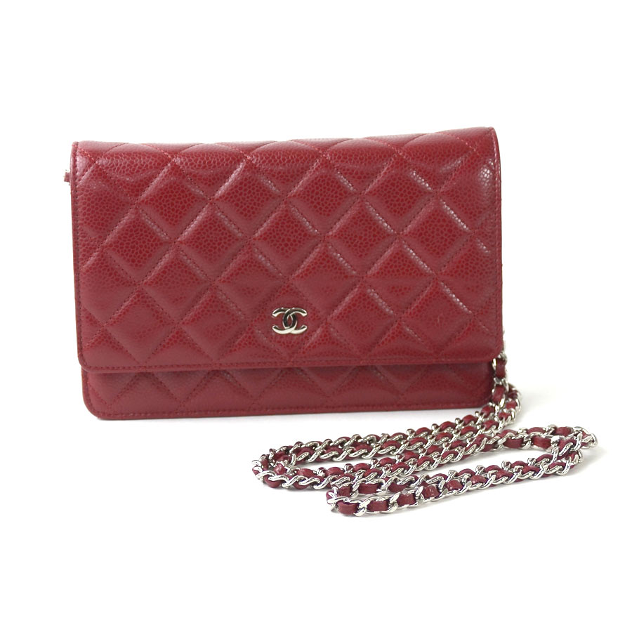 b7ef6fccf5573  basic popularity   used  Chanel  CHANEL  matelasse wallet on chain chain  wallet shoulder bag Lady s red x silver caviar skin x metal material