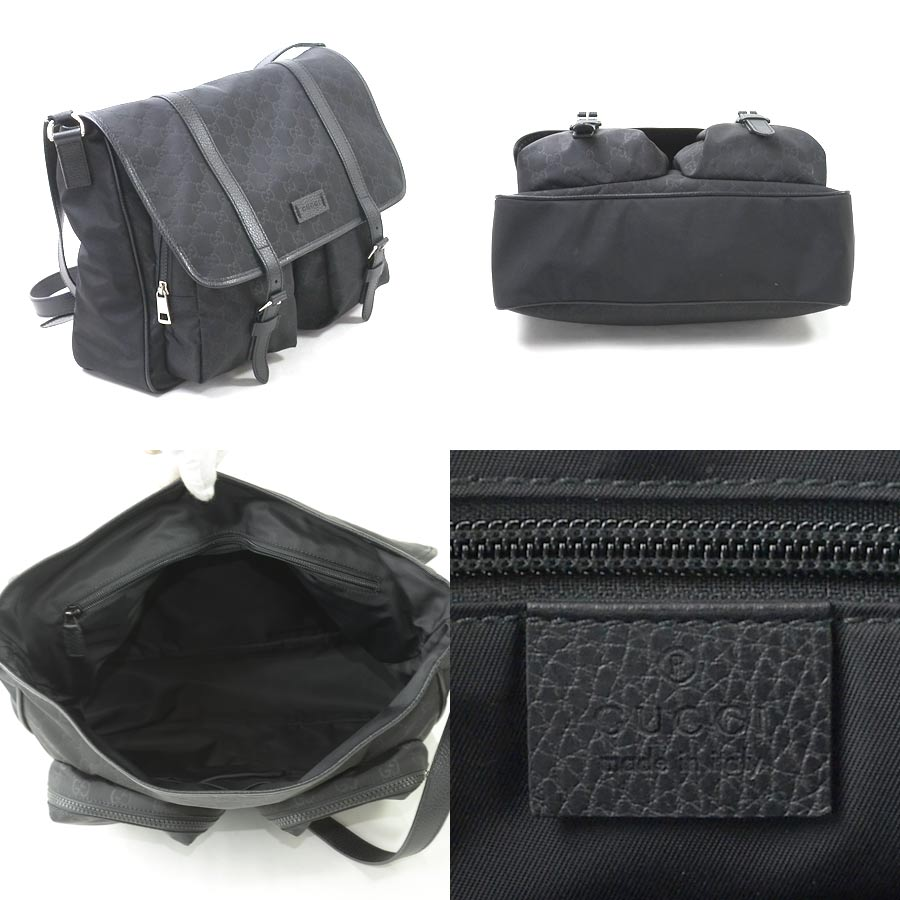99693796871  beautiful article  Take Gucci  GUCCI  GG pattern slant  used   shoulder bag  Lady s men black nylon x leather