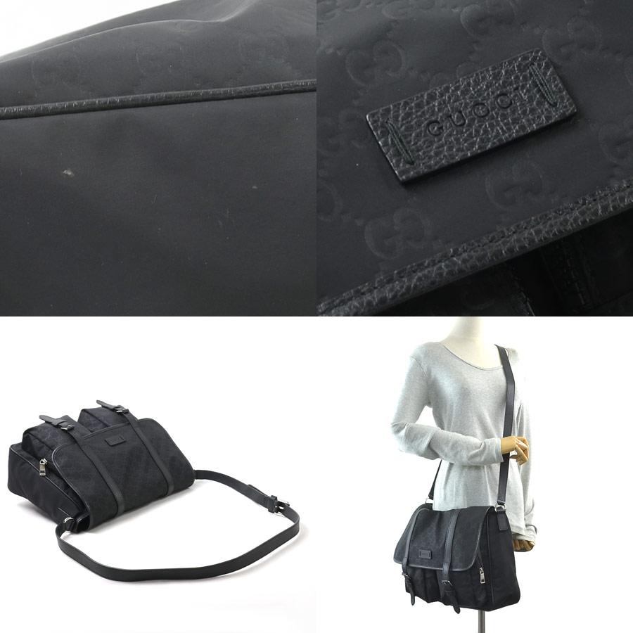b8a1f68c70b Take Gucci GUCCI slant  shoulder bag GG pattern black nylon x leather  Lady s men 387