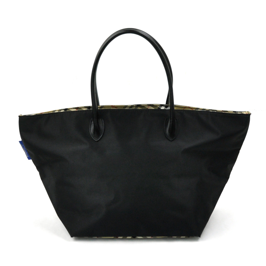 51fc0b0e7bd4 It is Burberry blue label  BURBERRY BLUE LABEL  Novacek tote bag shoulder  bag Lady s black nylon x leather  soot   used