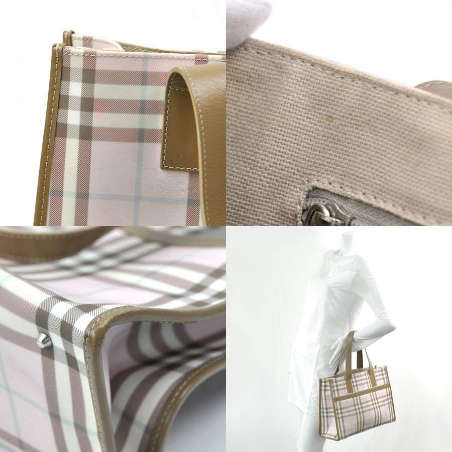4d3963b776c [basic popularity] [used] Burberry [BURBERRY] shoulder bag tote bag Lady's  pink x beige PVCx leather