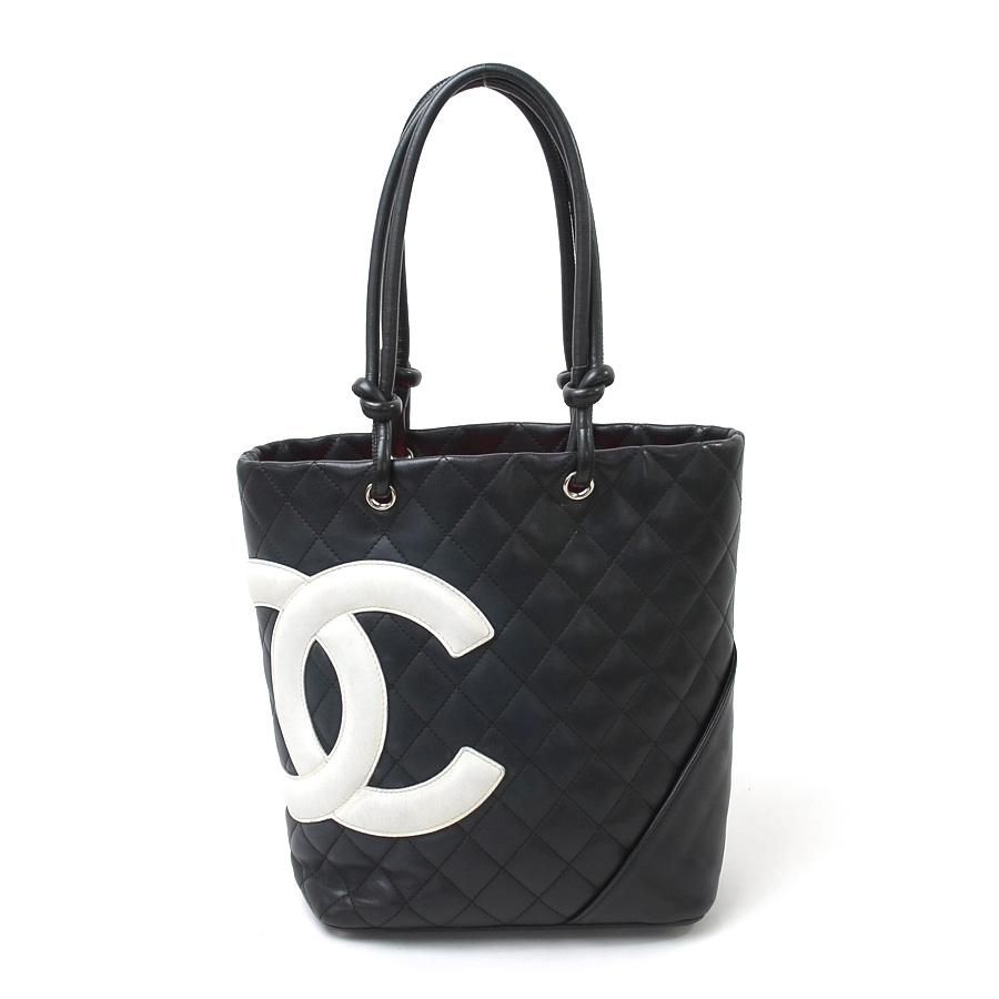 Chanel Handbag Tote Bag Cambon Line Black X White Pink The Inside Leather Lady S 93 829