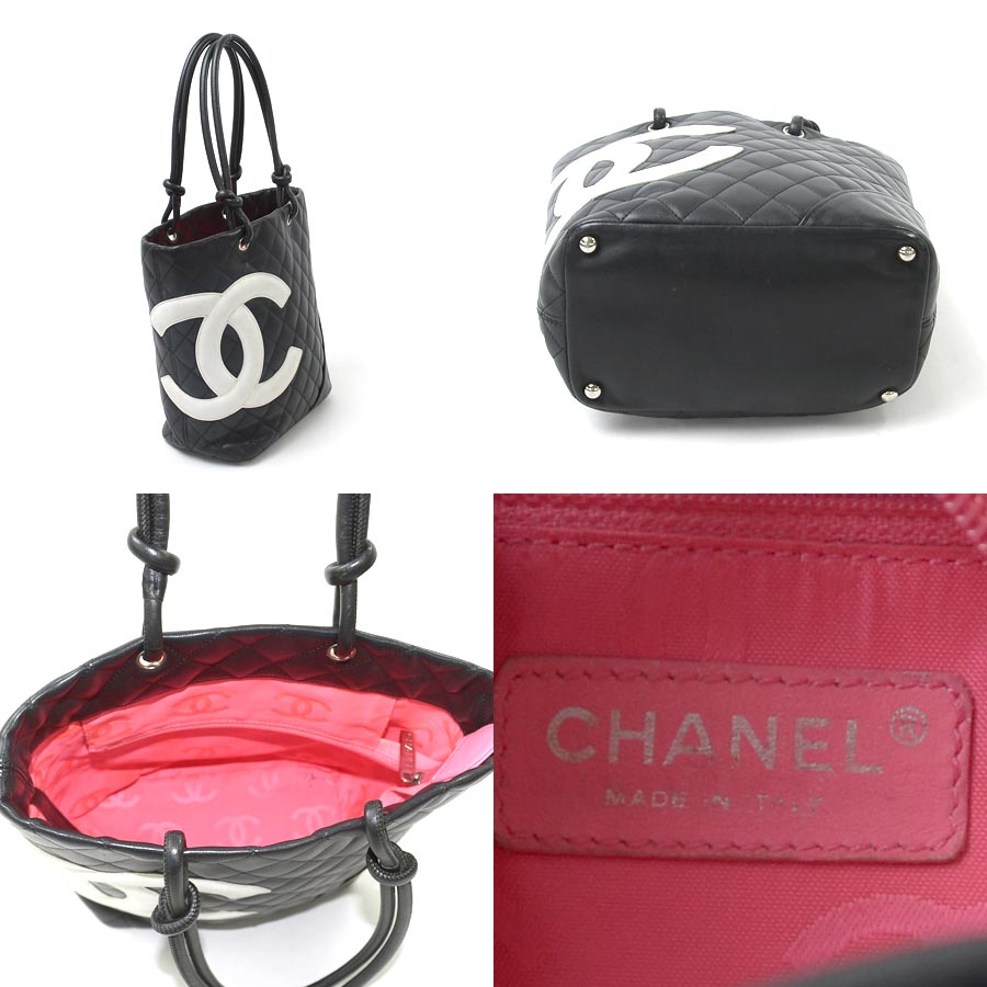 e4e7978158a4 [basic popularity] [used] Chanel [CHANEL] Cambon line handbag tote bag  Lady's black x white x pink (the inside) leather