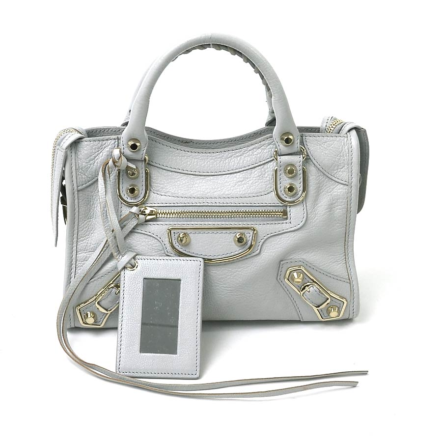 cc5582f9b7 BrandValue: バレンシアガ BALENCIAGA handbag shoulder bag 2Way bag classical music metallic  edge city S light gray system shiny grain goat skin Lady's ...