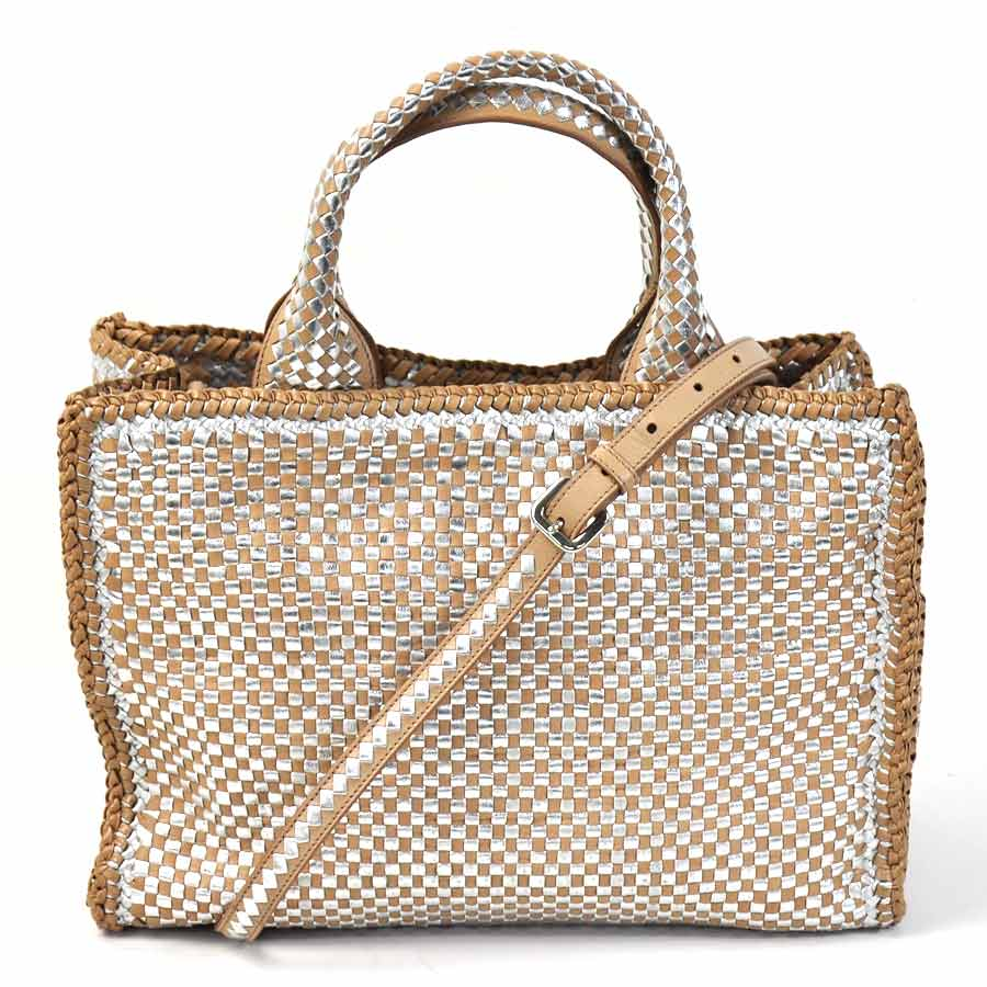 5423a9f59419  basic popularity   used  Prada  PRADA  Madras handbag shoulder bag 2Way bag  lady CAMMEO+ARGEN (beige system x silver) Madras leather