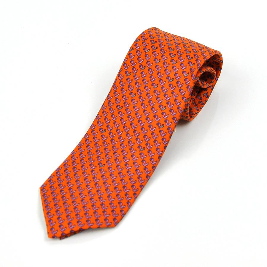 エルメス HERMES ネクタイ CRAVATE TWILL オレンジxパープル SILK100% メンズ 【中古】【定番人気】 - x2040