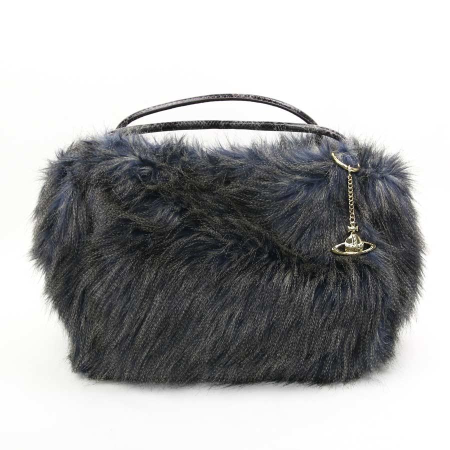 It is Vivien waist Wood  Vivienne Westwood  Monte Carlo handbag tote bag  Lady s blue x gray system fur x python-like leather  soot   used  09c17411bb3f1