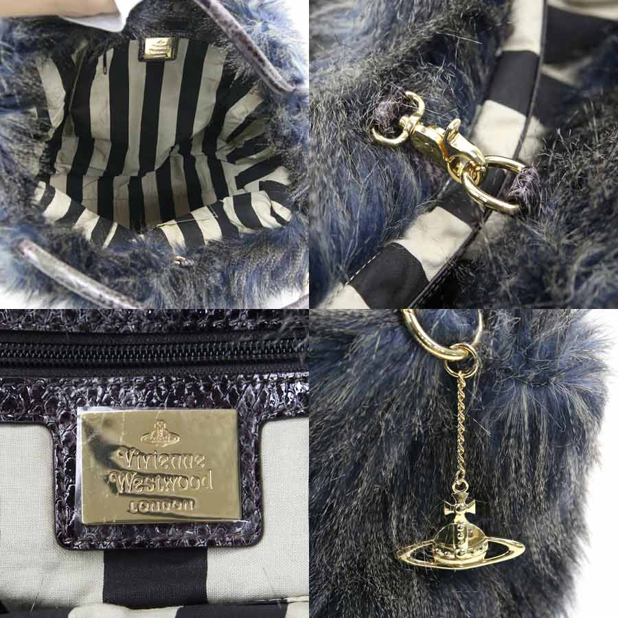 It is Vivien waist Wood  Vivienne Westwood  Monte Carlo handbag tote bag  Lady s blue x gray system fur x python-like leather  soot   used  77e907d340eb7