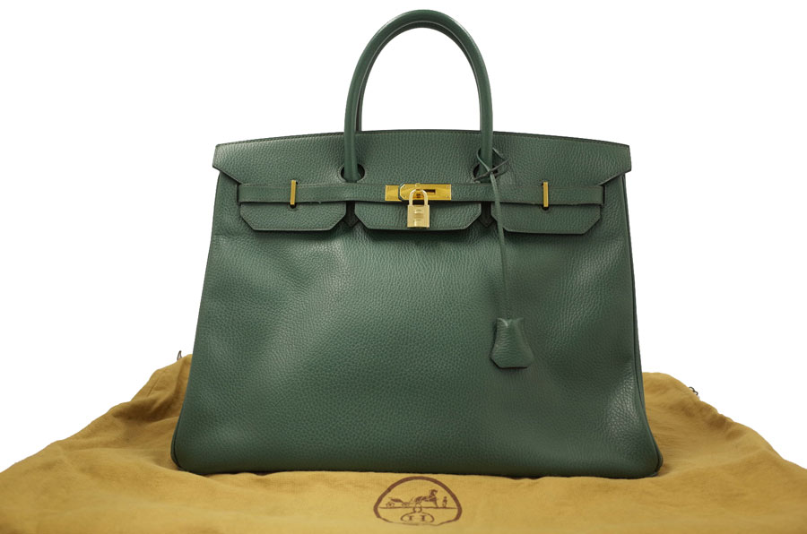 Hermes Birkin 40 Bag Handbag Lady S Men Green X Gold Metal Ings Ardennes Leather Used Constant Er Pority