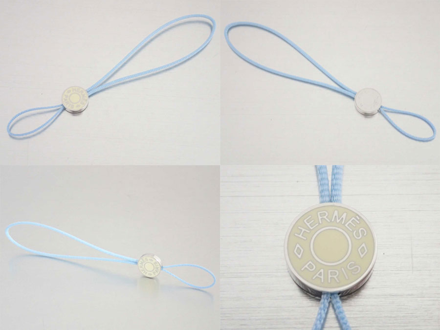 Hermes HERMES charm strap Serie Selle Mobile Phone Charm ◆ light blue x silver light blue silver canvas x metal material ◆ beauty product ◆ Lady's men ◆ status cheap ◆ - e23296
