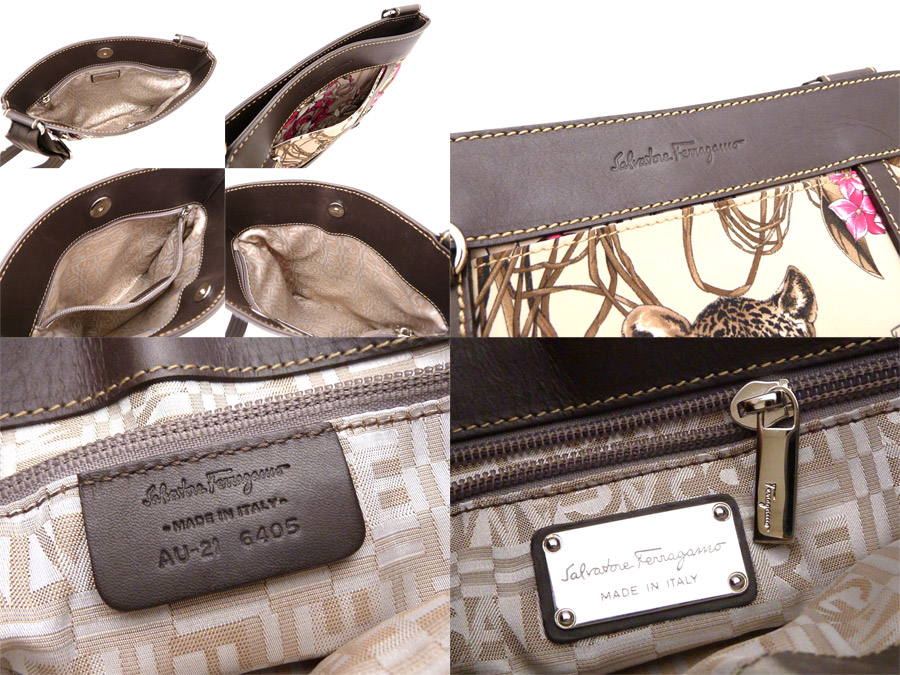 00c79c9ccfd0e7 Take Salvatore Ferragamo [Salvatore Ferragamo] Leopard Print レオパード 豹柄 bag  shoulder bag slant; a light brown pink leather x nylon [used] beauty ...