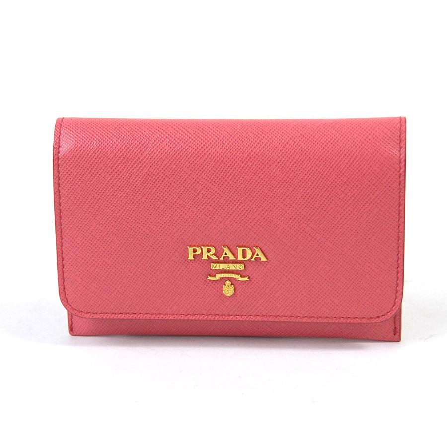 プラダ PRADA カードケース FRAGOLA(ピンクxゴールド) サフィアーノレザー レディース 1M1362 【中古】【定番人気】 - x2097