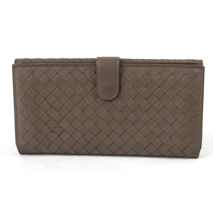 hot sales ec76b 7c248 Lamb leather Lady's men - x2099 of ボッテガヴェネタ BOTTEGA VENETA W hook folio  long wallet イントレチャートブラウンベージュ ...