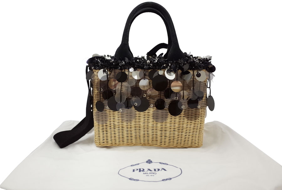 The article which has difficulty with acquisition as well as the basket bag Basket 2-Way Tote ◆ black straw x spangles x beads ◆ new article with Prada PRADA bag raffia spangles! Hard rare popular item handbag shoulder bag ◆ Lady's 1BG835 - e23127