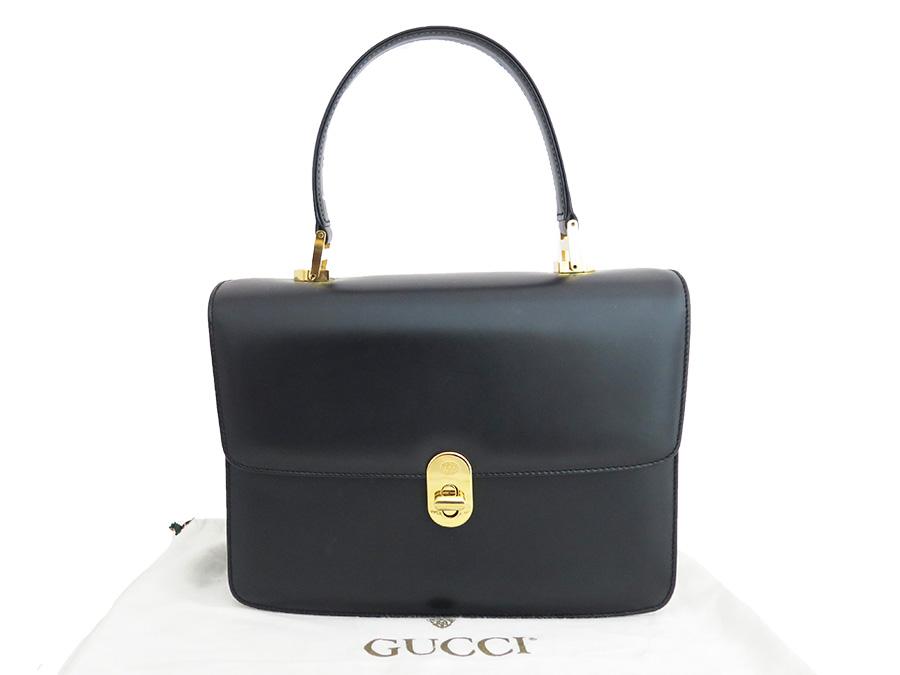 Gucci Bag Old Vintage Black Gold X Metal Ings Leather Constant Er Pority Handbag Lady S