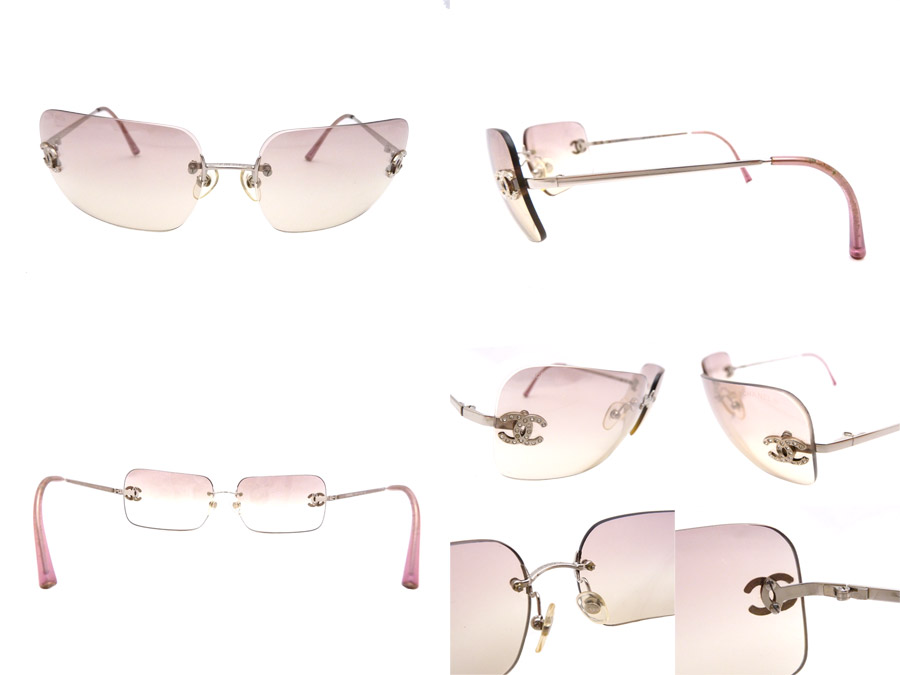 Chanel CHANEL eyeware here mark CC Logo Frameless Sunglasses ◆ Pink pink gradation metal material x rhinestone x plastic ◆ constant seller popularity sunglasses ◆ Lady's ◆◆ ◆ 9800 equality ◆ - e24520 down