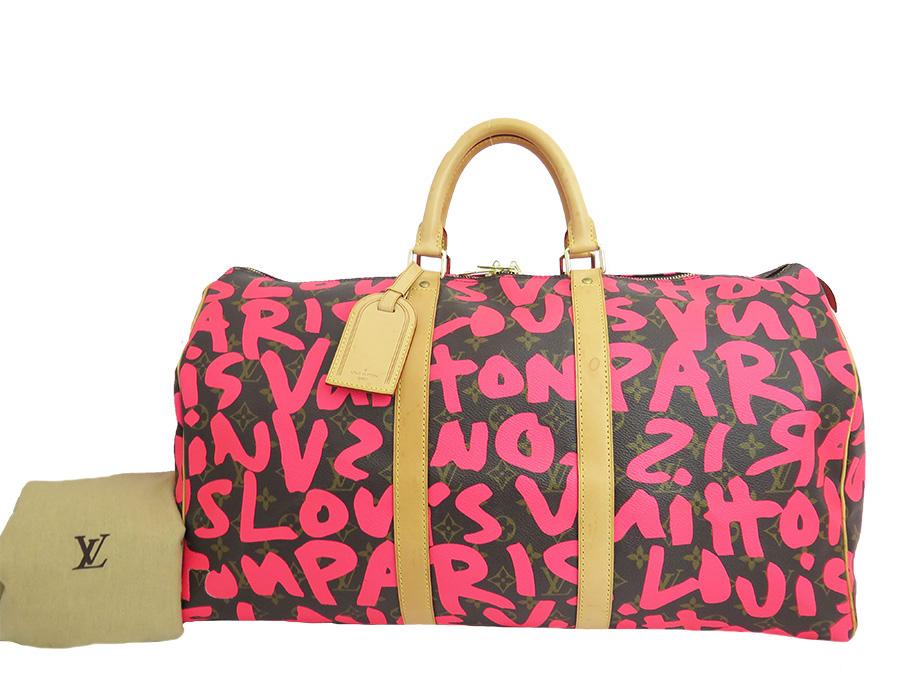 83c7b02205cf ...  Louis Vuitton  monogram graffiti Monogram Graffiti key Poll 50 Keepall  50 travel bag trip bag bag handbag Boston bag Lady s men Pink pink fuchsia  brown ...