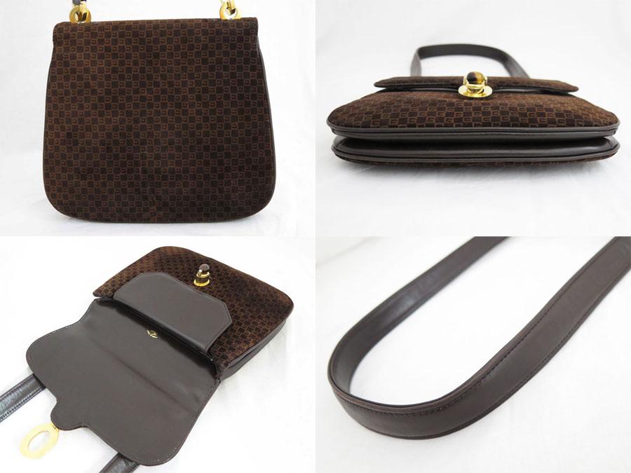 Gucci Bag Old Vintage Logo Pattern Dark Brown Suede X Leather Constant Er Pority Shoulder