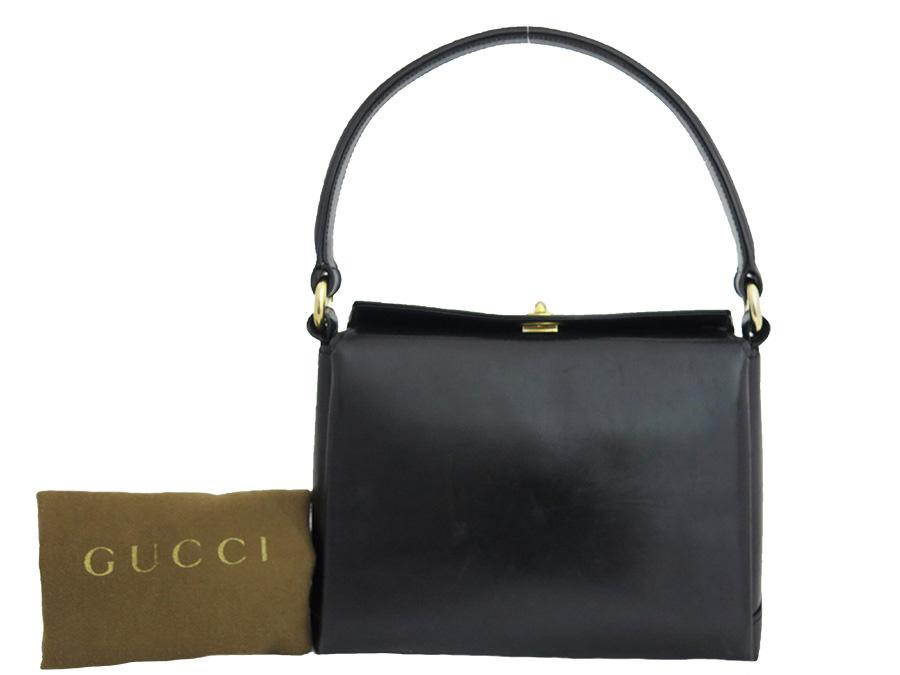 Gucci Bag Old Vintage Black Leather Constant Er Pority Handbag Shoulder Lady S E24748