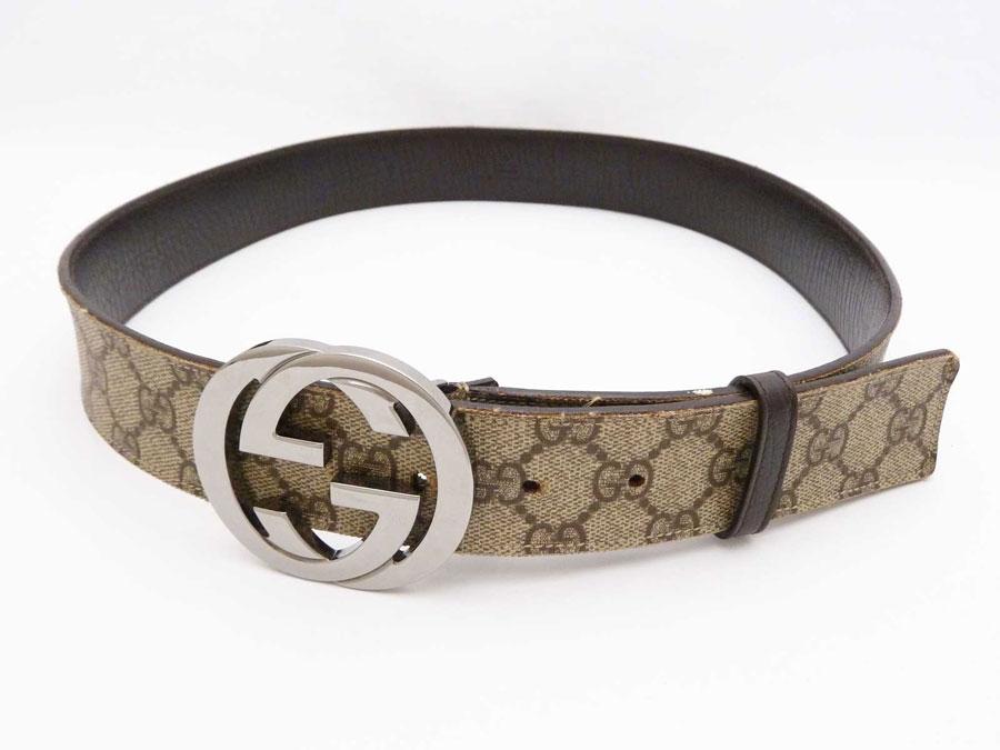6e626b31bee Gucci  GUCCI  interlocking grip G Interlocking G GG plus belt buckle belt  waist belt Lady s men Beige weak powdered tea beige PVCx leather  used   constant ...