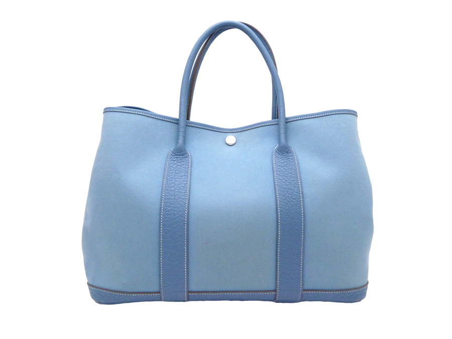 5f4313113 BrandValue: Hermes HERMES bag garden party PM Garden Party 36 Handbag ◇ Blue  blue blue Toile Officier Negonda Leather ネゴンダレザー x canvas ◇ constant ...