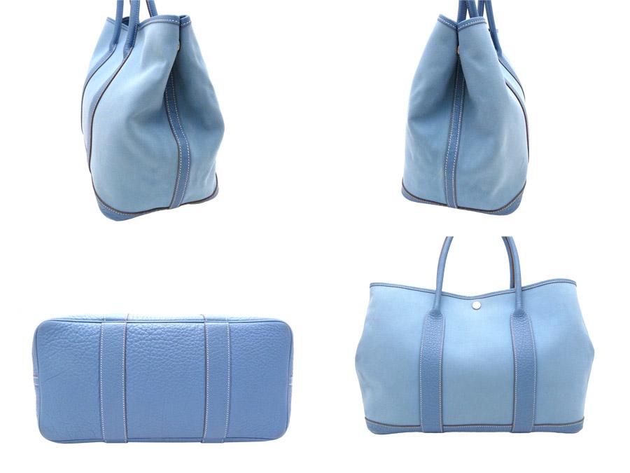 84b6ef44443f ... Hermes HERMES bag garden party PM Garden Party 36 Handbag ◇ Blue blue  blue Toile Officier ...