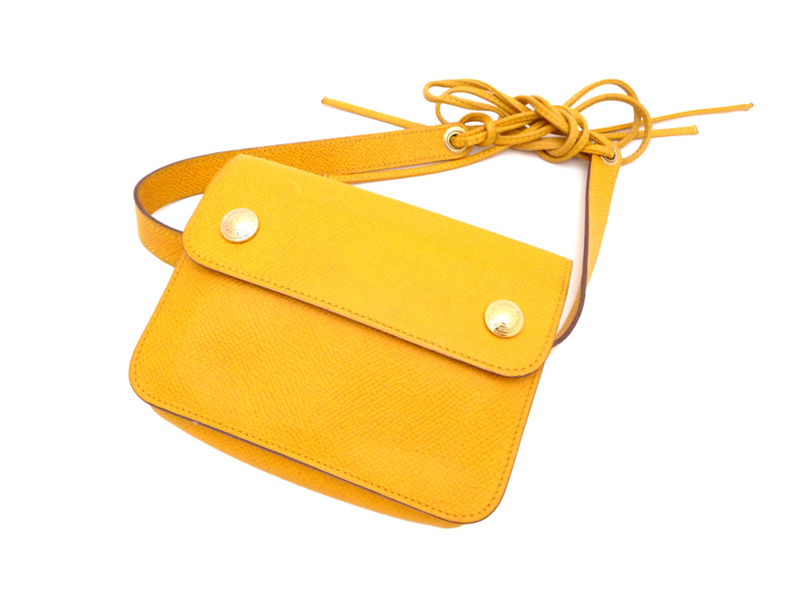 Hermes HERMES bag bum-bag vintage Vintage ◆ Yellow yellow yellow leather ◆ constant seller popularity waist porch Bam bag ◆ Lady's - e25005