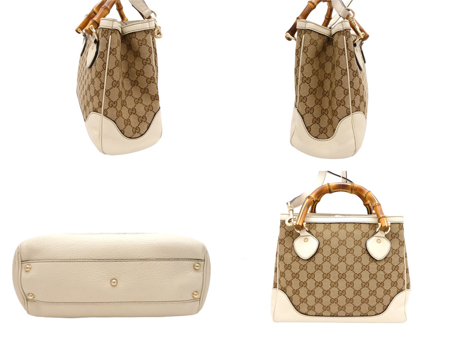 Gucci GUCCI 2Way bag bamboo Bamboo Diana Diana GG canvas ◆ Beige White beige x white canvas x leather x bamboo ◆ recommended handbag shoulder bag ◆ Lady's ◆◆ - e25155