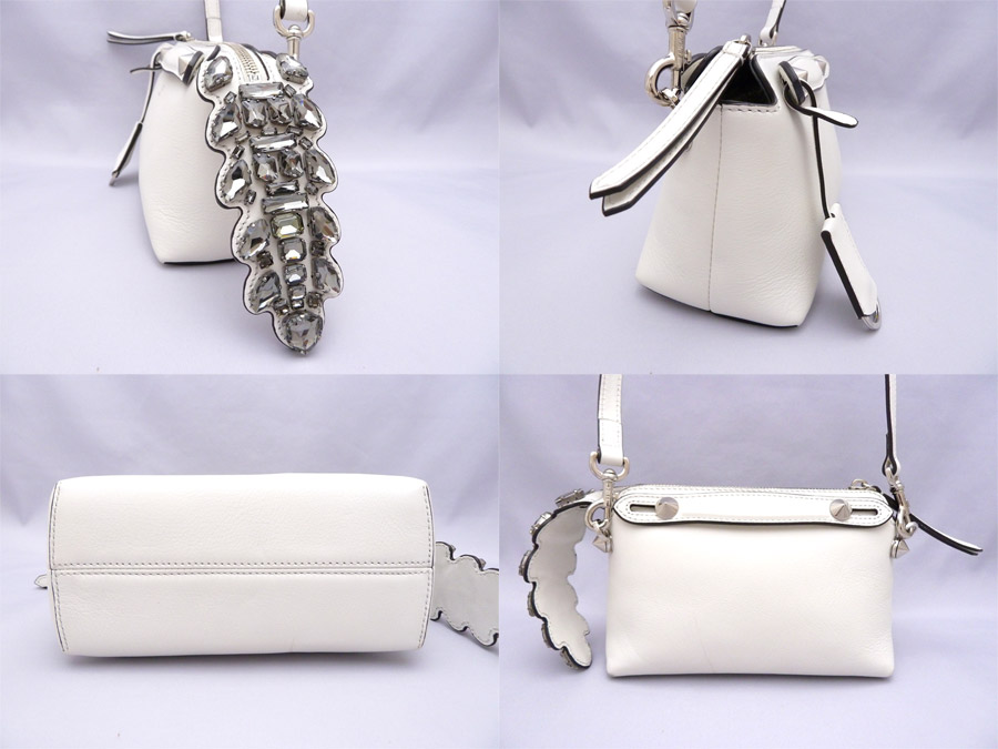 eb85a3d8f0 It is Fendi  FENDI  mini-visor way Mini By The Way crocodile tail bijou  Crystal Crocodile Tail 2Way bag shoulder bag handbag Lady s White white  white x ...