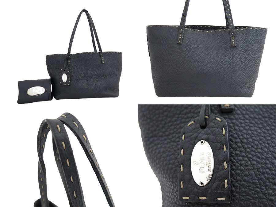 065ad130f4 ... Fendi FENDI バッグセレリア Selleria Tote Shoulder Bag ◇ Black black black  leather ◇ constant seller ...