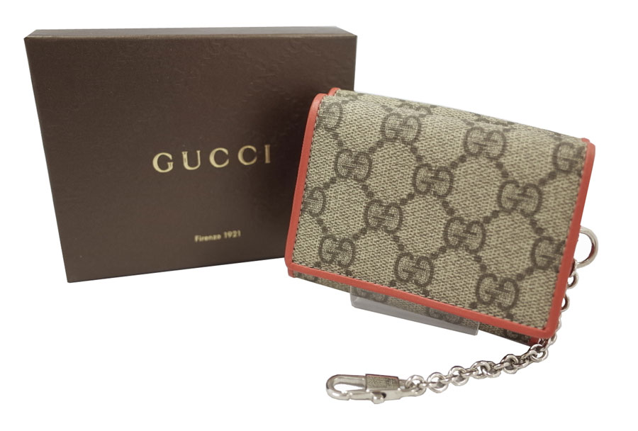 8ecbed6a29d4cd x silver metal fittings PVCx leather [used] display of three Gucci [Gucci]  GG plus wallets fold wallet chain wallet Lady's men pink red x Brown line