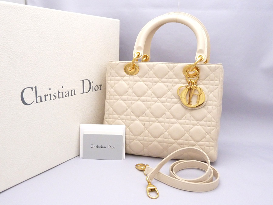 Christian Dior  Christian Dior  lady Dior Lady Dior クラシックカナージュ Classic  Cannage 2Way bag handbag shoulder bag Lady s off-white x gold leather x ... 3b24357c9dfe9
