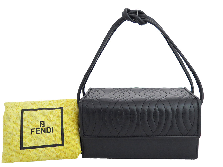 Fendi  FENDI  box type quilting embroidery stitch bag handbag Lady s black  leather  used  constant seller popularity c7475511c0d26