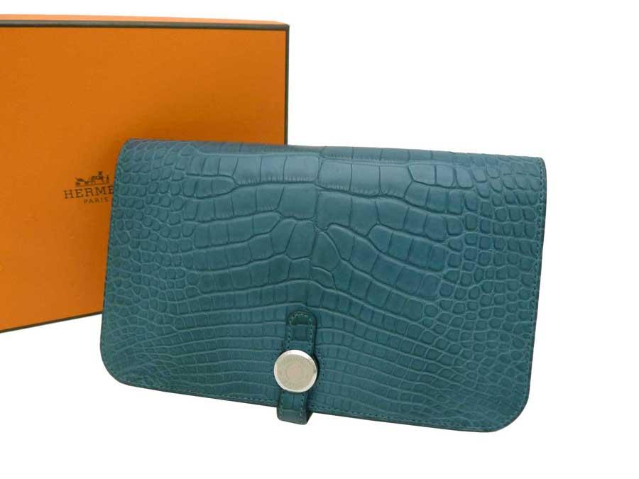 e8234e9031 czech vintage hermes alligator bearn wallet 76e2c b72a3  italy hermes hermes  gm wallet long wallet folio long wallet ladys men col veil dark blue