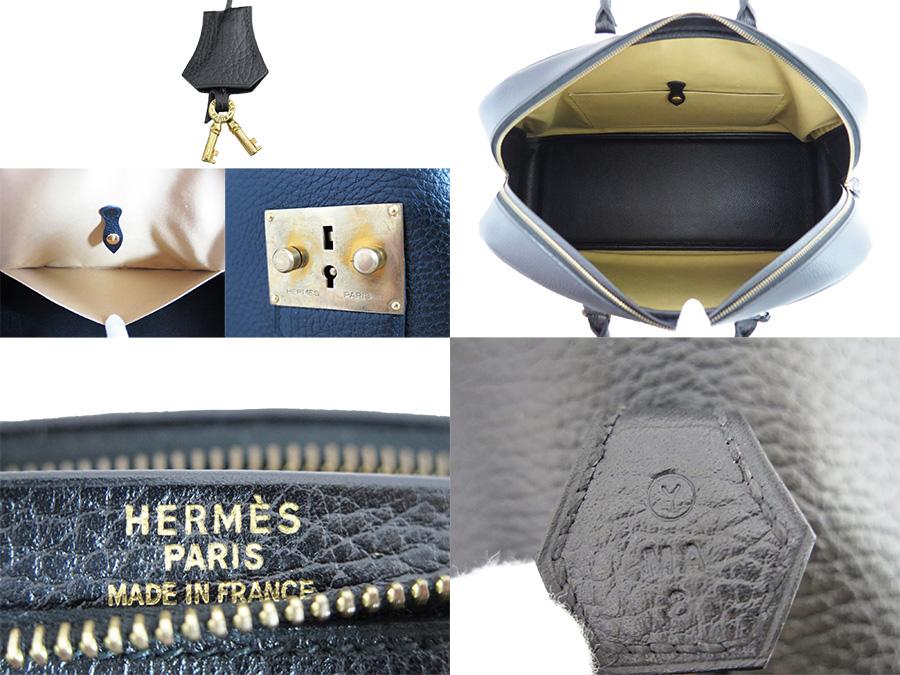 Hermes HERMES バッグサンプロン Simplon vintage Vintage black x gold metal fittings Ardennes leather constant seller popularity Boston bag handbag Lady's men emergency reduction in price - e26997