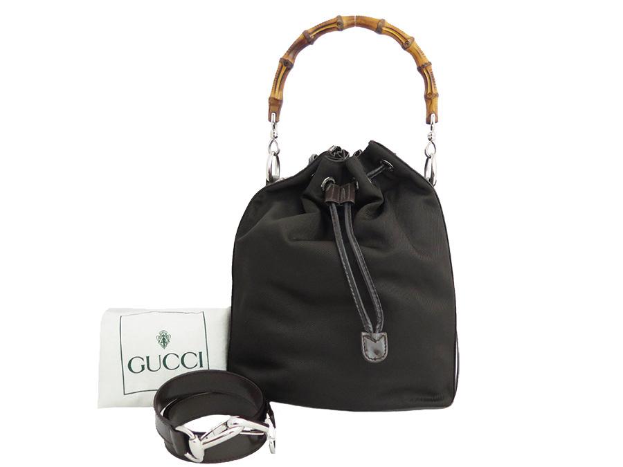 cfe3a2ace6 BrandValue: Gucci Gucci 2Way bag bamboo Bamboo dark brown nylon x leather  constant seller popularity handbag shoulder bag drawstring purse bag lady -  e26156 ...